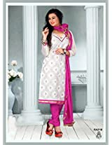 Fabfirki The New Designer Attractive White And Pink Salwar Suit
