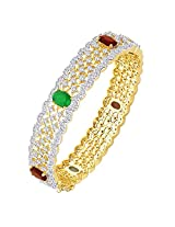 MGold Gold Plated Stark Glam Statement CZ Bangle (2.80 IN)