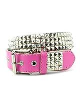 NYfashion101 Pyramid Studded Solid Color Single Hole Genuine Leather Belt (X-Large, Hot Pink)