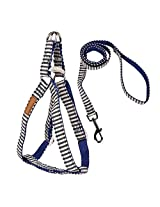 Imported Blue Stripes Dog Puppy Harness Leash Lead Walking Control Vest Strap Size L