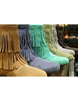 Suede Leather Fringe Boots
