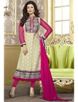 Aayushman Bright Butter Cream Semi Stitched Anarkali Suit Material
