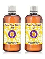 Pure Flax Seed Oil - Pack of Two (100ml + 100ml) Linum usitatissimum 100% Natural Cold pressed