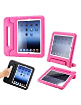 Pink Children Safe Kids Friendly Protective Foam Case Cover Handle Stand for The New iPad 2 3 4