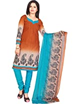 Vardhman Brown Cotton Jacquard Unstitched Straight Salwar Suit dress material