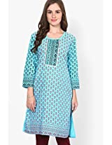 Aqua Blue Embroidered Kurtis Dhwani