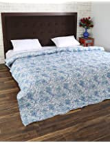 Beautiful Hand Block Printed Cotton Quilt Double White Floral By Rajrang