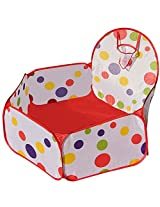 Each Well Portable Cute Hexagon Polka Dot Kids Playpen Ball Pit Indoor Outdoor Easy Folding Play House Children Toy Play Tent With Basket Hoop M