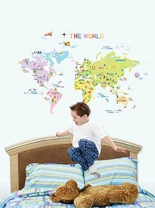 Vinilo Mapa del mundo para los niños Multicolores