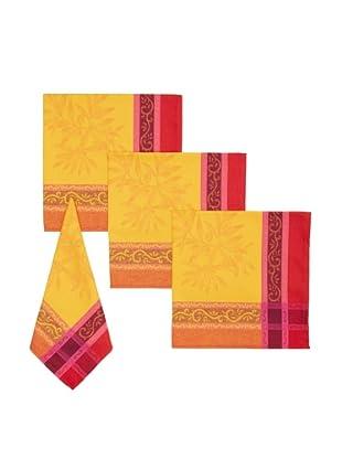 Mierco Fine Linens Set of 4 Olives Jacquard Napkins, Red/Gold, 18