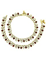 The Jewelbox Ruby Red Antique Gold Plated Pearl Kundan Anklet Pair For Women