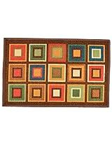 """Agra Dari Woolen Door Mat - 7"""" x 9"""" x 0.39"""", Green"""