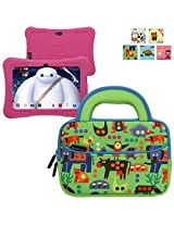 Evecase TABLET EXPRESS Y88X Kids Dragon Touch 7IN Android Tablet Sleeve, Cute Animal Themed Neoprene Travel Carrying Slim Sleeve Case Bag w/ Dual Handle and Accessory Pocket - Green w/ Blue Trim