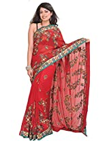 Exotic India Chili-Pepper Wedding Saree with Floral Embroidery and Beadwor - Red