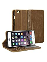 iPhone 6s Plus Case, GMYLE [Book Case] iPhone 6s Plus case Wallet Book Case Vintage for iPhone 6s Plus - Brown Classic [Crazy Horse Pattern] [PU Leather] Book style Wallet Case Cover ...