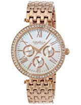 Caravelle New York  Crystal Analog Champagne Dial Women's Watch - 44N101