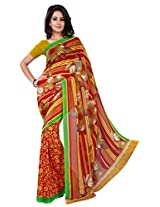 Silk Bazar Women's Faux Georgette Saree with Blouse Piece (Yellow)