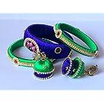 Silk Thread Bangles With Jhumka Earrings