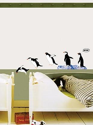 Vinilo Adhesivo de una familia de pingüinos Multicolores