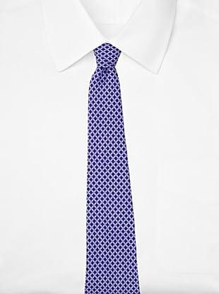 Battistoni Men's Novelty Print Tie, Navy/White