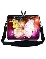 Meffort Inc 15 15.6 inch Neoprene Laptop Sleeve Bag Carrying Case with Hidden Handle and Adjustable Shoulder Strap - Big Butterfly Design