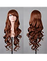 "HILISS 32"" 80cm Long Hair Heat Resistant Spiral Curly Cosplay Costume Wig Brown AD"