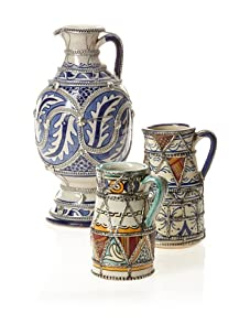 Set of 3 Hand-Painted Ceramic Pitchers (Multi)