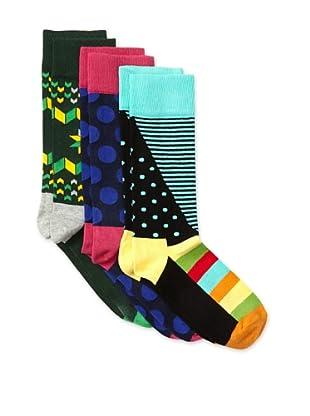 Happy Socks Women's Multi Socks (3 Pairs) (Green/Pink/Aqua)
