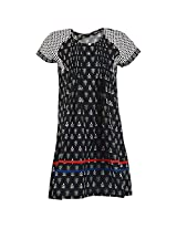 Karni Women's Cotton Black & White Kurti