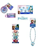 Disney Frozen Girls Jewelry Set. Includes Necklace, Days of the Week Earrings, Rings, Bangles, and H