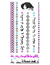 Spestyle Temporary Jewelry Tattoos Blue And Silver Fluorescent Metallic Jewelry Tattoo Jewelry Chain And Ancient Words