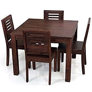 Arabia Square-Capra 4 Seat Dining Table Set (Mahogany Finish)