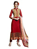 Surat Tex Womens Cotton Salwar Dress Material (C697Dl10Sa _Red _Free Size)