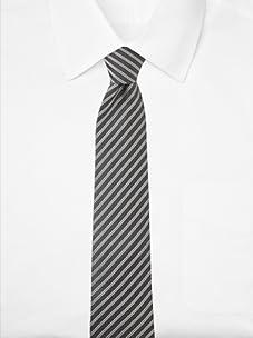 Aquascutum Men's Pinstripe Silk Tie (Black/White)