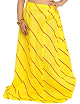 Exotic India Long Ghagra Anchor Skirt with Stitched Ribbons - Color Blazing YellowGarment Size Free Size