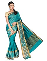 Korni Cotton Silk Banarasi Saree ISL-1051- RamaGreen KR0469