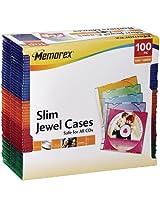 Memorex Slim CD Jewel Case 5mm (Assorted Colors,100-Pack)