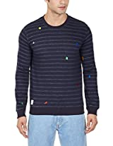United Colors of Benetton Men's Cotton Sweatshirt (8903975022935_15A3YGRJ9347I901XL_X-Large_Navy)