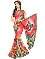 Shree Bahuchar Creation Women's Chiffon Saree(Skb28, Red)