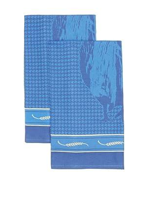 Mierco Fine Linens Set of 2 Rooster Jacquard Tea Towels (Blue)