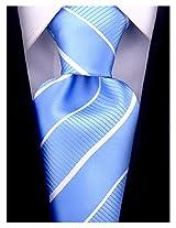 Scott Allan Men's Striped Necktie - Light Blue/White