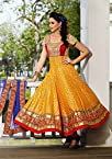 Nairiti Fashions Designer Anarkali Yellow Color Chanderi Silk Butti Fabric Party & Wedding Wear Semi Stitched Anarkali Suit