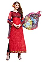 Surat Tex Red & Black Color Wear Cotton Jacquard Semi-Stitched salwar kameez designs