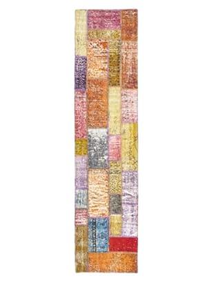 Handmade Ottoman Yama Patchwork Wool Rug, Dark Orange, 2' 7