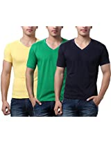 TeeMoods Pack of Three Men's V Neck Tshirts-Yellow, Green & Navy_TM-C-1549YEL-PGRN-NAVY-XL