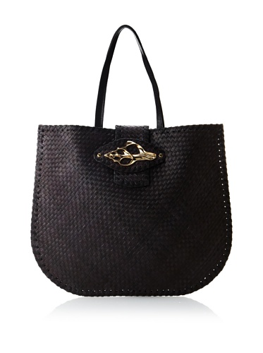 Felix Rey Women's Oversized Tortola Tote with Shell, Black/Gold