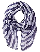 D&Y Women's Washed Stripe Americana Scarf with Fringe