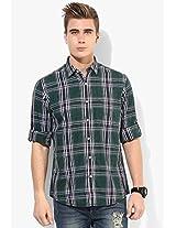 Green Checks Regular Fit Casual Shirt Peter England