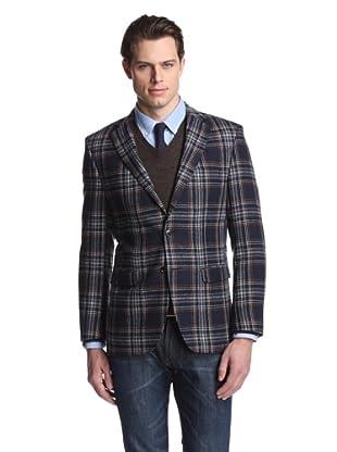 Simon Spurr Men's Tartan Tweed 2-Button Sportcoat (Black/White)