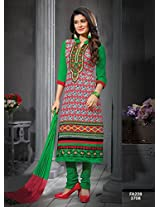 Fabfirki Red and Green Unstitched Cotton Salwar Suit